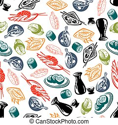 Oriental cuisine dishes and sake seamless pattern - Oriental...