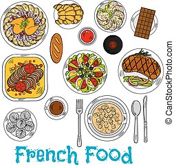 Sketch of worldwide popular french dishes - Flavorful french...