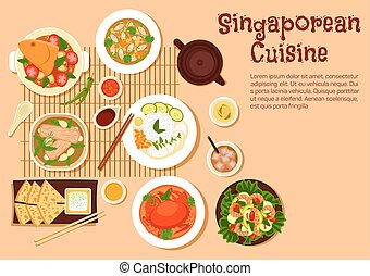 Fresh singaporean seafood dinner flat icon - Popular...