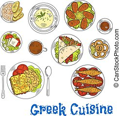 Grilled greek seafood dishes sketch drawing icon - Grilled...