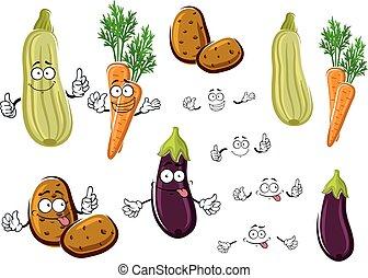 Cartoon eggplant, carrots, potatoes and zucchini - Healthful...