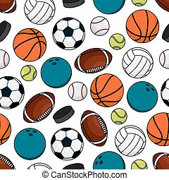Balls and pucks for team games seamless pattern