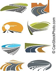 Road landscapes symbols for transportation design - Road...