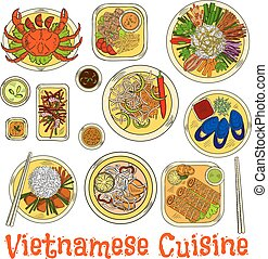 Spicy and refreshing vietnamese dinner sketch icon -...