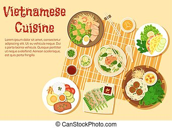 Vietnamese family dinner served on floor flat icon -...
