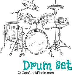 Five piece drum kit sketch icon - Sketched five piece drum...