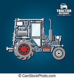 Tractor silhouette with mechanical parts icon - Mechanical...