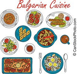 Hearty dishes of Bulgaria with meat and vegetables -...