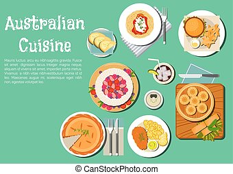 Traditional australian cuisine dishes flat icon - Iconic...