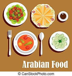 Arabian vegetarian lunch menu flat icon - Arabian vegetarian...