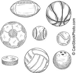 Sketches of sporting balls and ice hockey puck - Engraving...