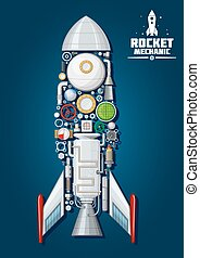 Rocket with detailed engine parts, body structure