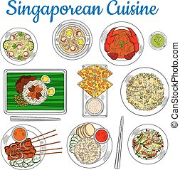 National dishes of singaporean cuisine sketch icon -...