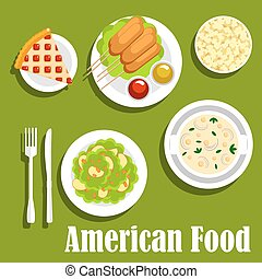 American lunch flat icon with fast food desserts - American...