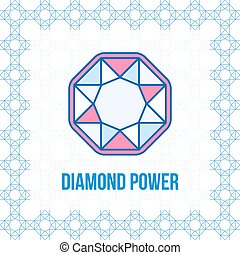 Diamond outline icon, top view