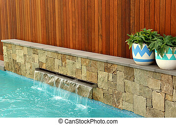 Modern back yard design - Combinations of plants, timber...