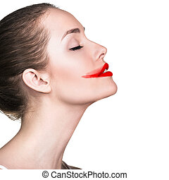 Womans face with smeared red lipstick isolated on white
