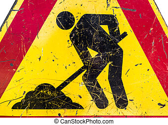 Men at work sign - Close-up of men at work sign at a road...