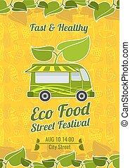 Street food festival vintage vector poster. Banner food...