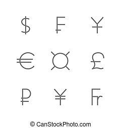 Set symbols of world currencies