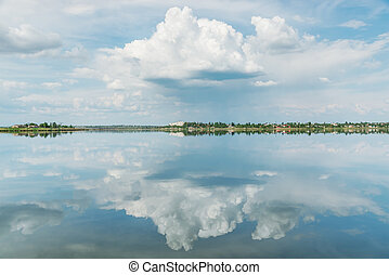 dramatic clouds in sky and river reflection