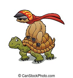 sloth turtle - sloth riding a turtlecartoon slothcartoon...