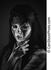 Human with black soul - Scary portrait of the woman...