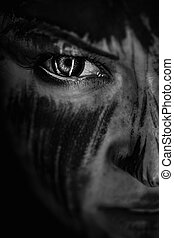 Human with black soul - Cloce-up scary portrait of angy...