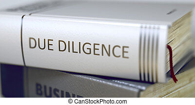 Due Diligence Book Title on the Spine - Business Concept:...
