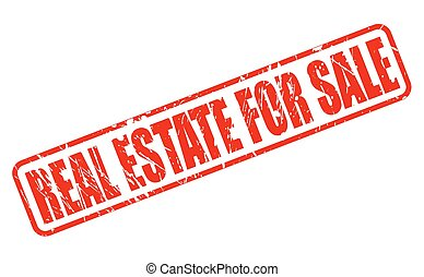 REAL ESTATE FOR SALE red stamp text on white
