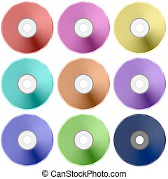 Vector Colorful Realistic Compact  Disc Collection