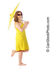 Sunshine Girl - A barefoot young teen in a bright yellow...