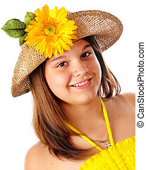 Sunshine Girl - Head and shoulders portrait of an...
