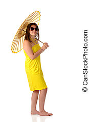Sunshine Girl - An barefppt young teen holding a parasol...