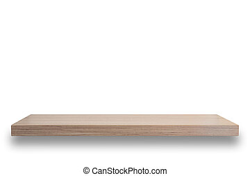 Empty top of wooden shelf isolated on white background For...