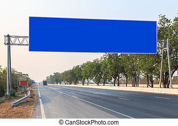 Blank sign on the road in Thailand - Big blank sign on the...
