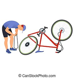 Man repairing a bicycle chain. - Man repairing a bicycle...