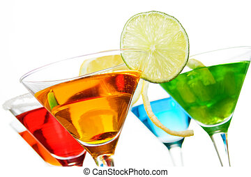 Cocktail drinks with fruit slices isolated on white...