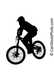 mountain biker silhouette - silhouette of a mountainbiker at...