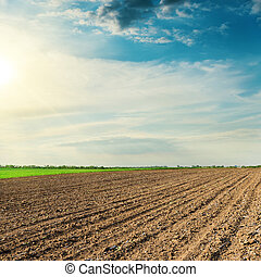 black agriculture field in spring and sunset in clouds