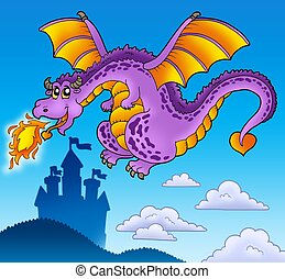 Huge flying dragon near castle - color illustration.