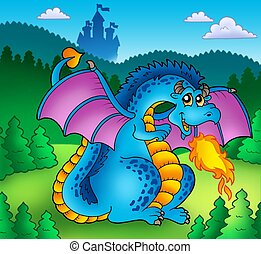 Big blue fire dragon with old castle - color illustration.