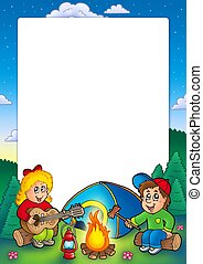 Frame with camping kids - color illustration