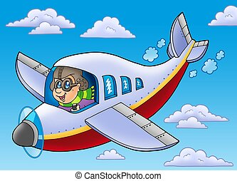 Cartoon aviator on blue sky - color illustration.