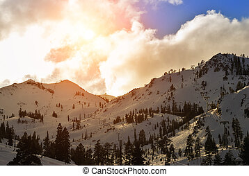 Squaw Valley ski resort in late afternoon