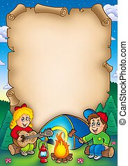 Old parchment with camping kids - color illustration