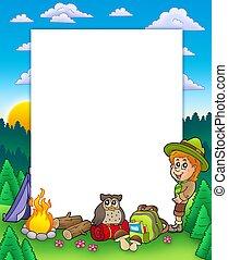 Summer frame with boy scout - color illustration.