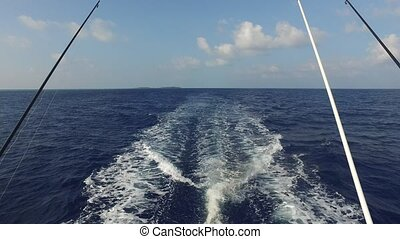 deck of sailboat or yacht sailing in sea - vacation, travel,...