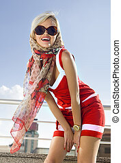 fashionable girl in red dress - High fashion urban portrait...