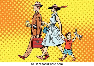 Family on a walk pop art retro style. father, mother and...